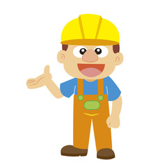 Vector illustration of a builder in yellow helmet