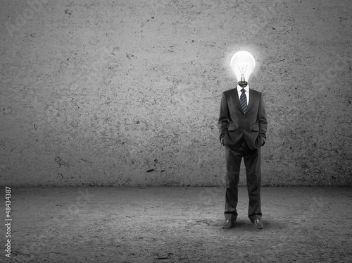 man with lamp-head
