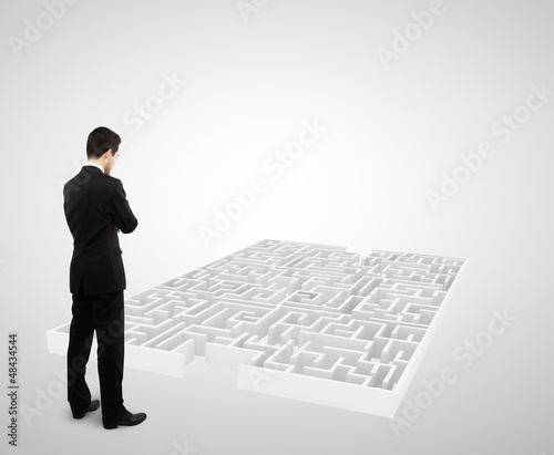 businessman and white labyrinth