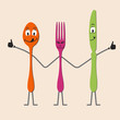 Nice cartoon cutlery set in vector