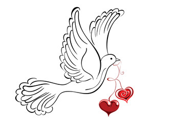 Flying dove with hearts