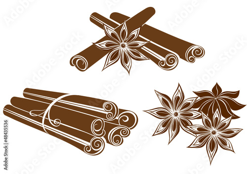 Star anise with Cinnamon sticks isolated on white