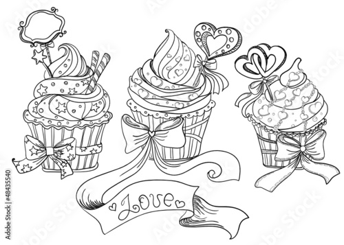 Vector hand drawing cupcakes