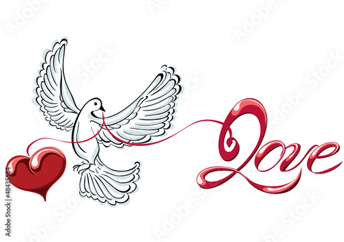 Flying dove with love and heart