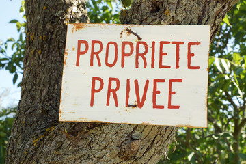 Propriete Privee or Private Property sign in French