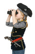 Little girl pirate looking away through binoculars