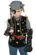 Serious little girl wearing pirate costume holding a gun