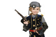 Little girl wearing pirate costume holding a gun