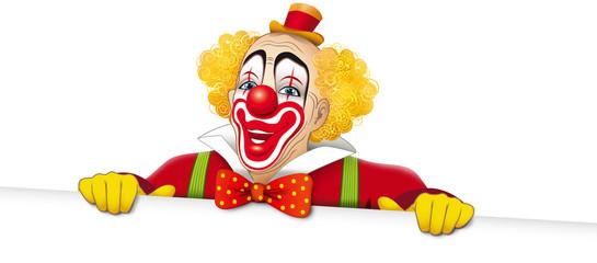 Clown sorridente con cartello bianco
