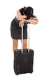 stressed business woman with suitcase