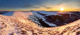 Winter mountains panorama landscape at sunset - Slovakia - Fatra