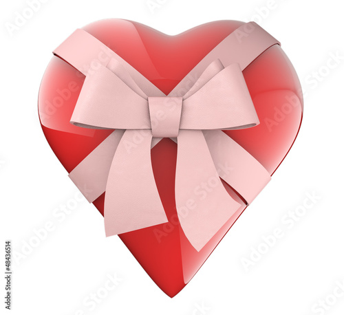 A nice heart with ribbon and  bow gift