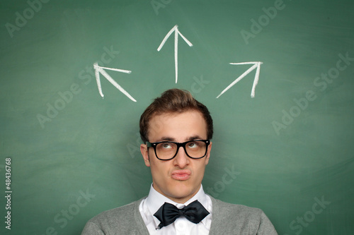 Man at the Blackboard with Arrows
