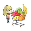 Blonde girl buying fruit in a supermarket. Vector illustration.