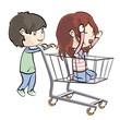 Girl walking in a shopping cart. Vector illustration.