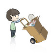 Child buying many objects in a store. Vector illustration.