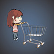 Girl shopping in the supermarket. Vector illustration.