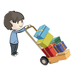 Boy buying many presents in a shop. Vector design.