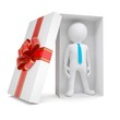 3d white man in gift box