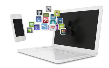 White laptop and smartphone communicate