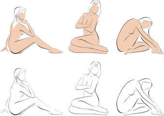 Stylized figures of nude women
