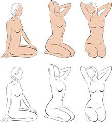 Stylized figures of nude women 2