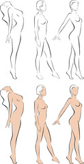 Stylized figures standing naked women
