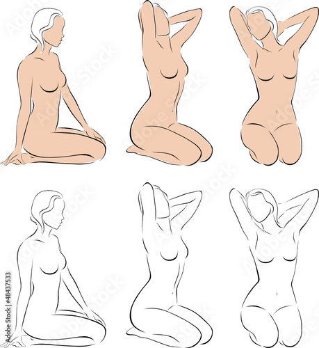 Stylized figures of nude women 2