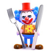 Clown has his knife and fork ready for a meal