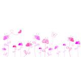 Fototapety Frise champs fleurs de coeurs - papillons - Saint Valentin