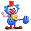 Clown lifts weights with ease