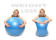 Weight loss (diet) concept. Women with blue ball.