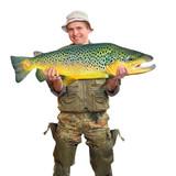The Fisherman with big fish (Brown Trout - Salmo Trutta).