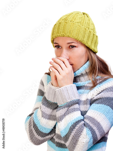 Thoughtful young girl in sweater