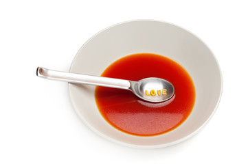 Tomato soup with letters pasta
