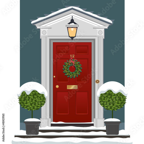 Door with Christmas Wreath and Snow