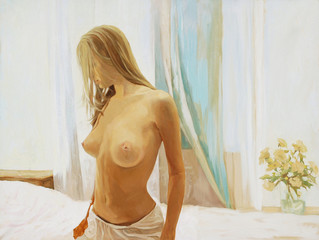 morning of the young girl in a bedroom,  illustration, painting