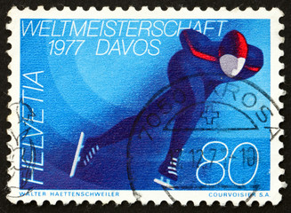 Postage stamp Switzerland 1977 Skater on Ice