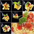 Diverse Nudeln mit Soße als Collage