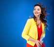 Colorful fresh portrait of a beautiful happy young woman