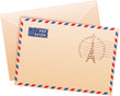 Old french envelope with Eiffel tour and sign par avion
