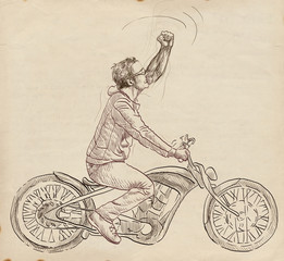 winning gesture on a motorbike, a young man - hand drawing