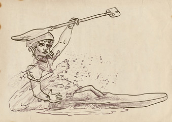champion in canoeing - hand drawing