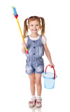 Cute little girl with mop and bucket is ready to clean isolated