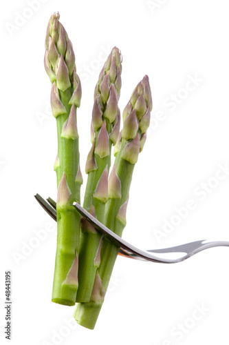 asparagus on a fork isolated