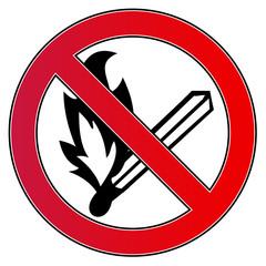 Verbotsschild Brandgefahr - Kein Feuer