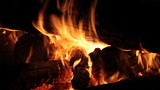 Burning firewood on fireplace, campfire