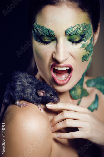 woman snake with rat
