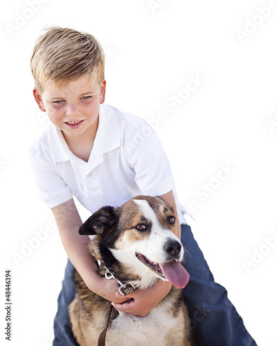 Handsome Young Boy Playing with His Dog Isolated
