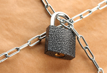 parcel with chain and padlock, close up